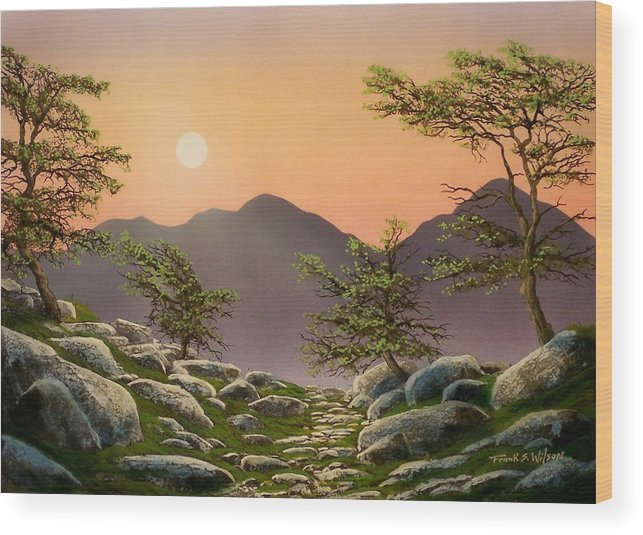 Evening Moonrise Wood Print featuring the painting Evening Moonrise by Frank Wilson
