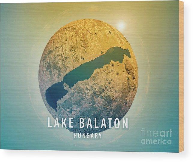 Lake Balaton Wood Print featuring the digital art Lake Balaton 3d Little Planet 360-degree Sphere Panorama by Frank Ramspott