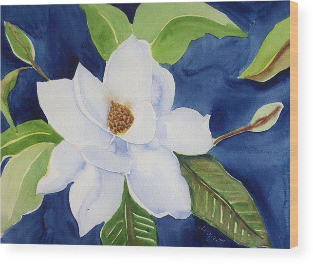 Magnolia Wood Print featuring the painting Magnolia by Janet Doggett