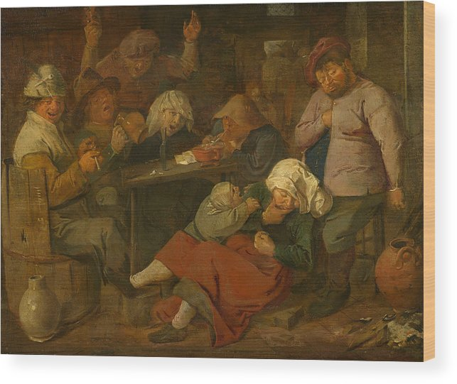 Adriaen Brouwer Wood Print featuring the painting Peasant Party Drink by Adriaen Brouwer
