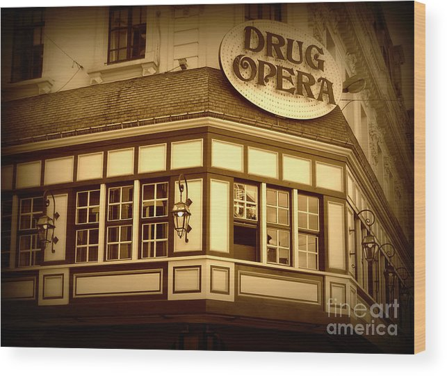 Drug Opera Wood Print featuring the photograph Restaurant Sign In Brussels by Carol Groenen