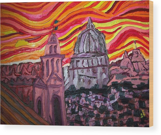 Sienna Italy Wood Print featuring the painting Sun At Night Siennas Delight by Ira Stark