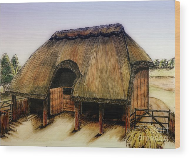 Barn Wood Print featuring the painting Thatched Barn Of Old by Shari Nees
