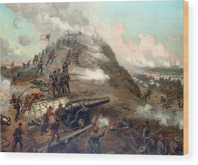 Civil War Wood Print featuring the painting The Capture Of Fort Fisher by War Is Hell Store