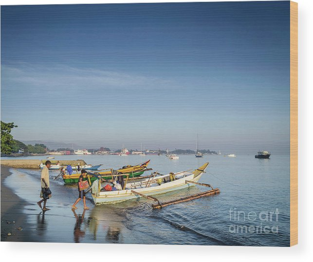 Asia Wood Print featuring the photograph Traditional Fishing Boats On Dili Beach In East Timor Leste by Jacek Malipan