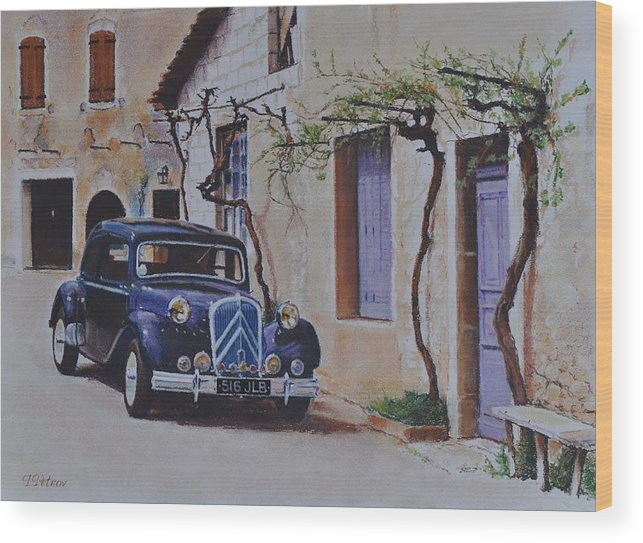 Classic Cars Wood Print featuring the painting 1951's Citroen by Iliyan Bozhanov