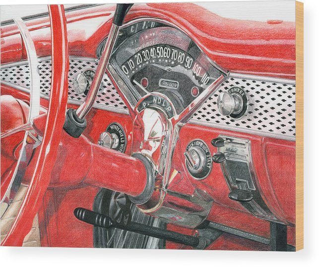 Classic Wood Print featuring the drawing 1955 Chevrolet Bel Air by Rob De Vries