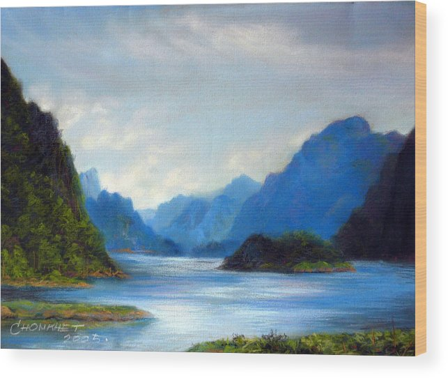 Pastel Wood Print featuring the painting Thai Landscape by Chonkhet Phanwichien