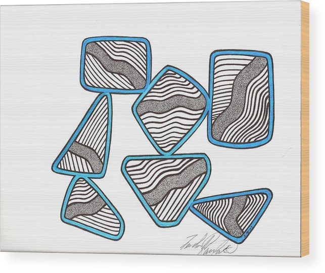 Abstract Wood Print featuring the drawing 29 by Freda Garland