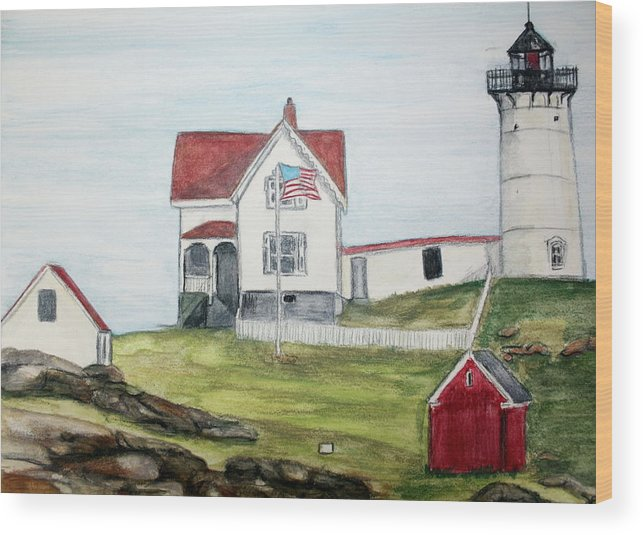 Light House Wood Print featuring the painting Nubble Light by Debra Sandstrom