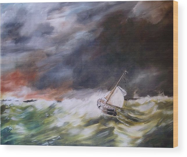 Boat Wood Print featuring the painting A Bit Rough by Andy Davis