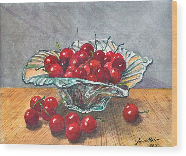 Cherry Wood Print featuring the painting A Bowl Full Of Cherries by Franco Puliti