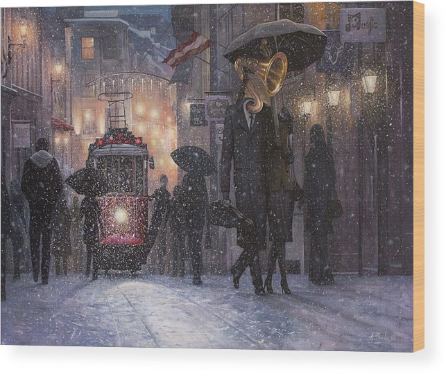 Music Wood Print featuring the painting A Midwinter Night's Dream by Adrian Borda