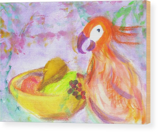 Parrot Wood Print featuring the painting A Parrot And The Passion Fruit by Michela Akers
