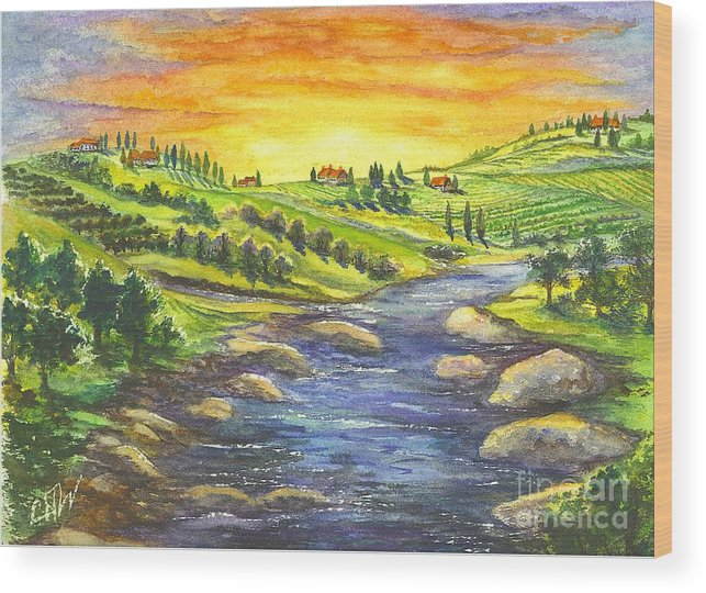California Wood Print featuring the painting A Sunset In Wine Country by Carol Wisniewski