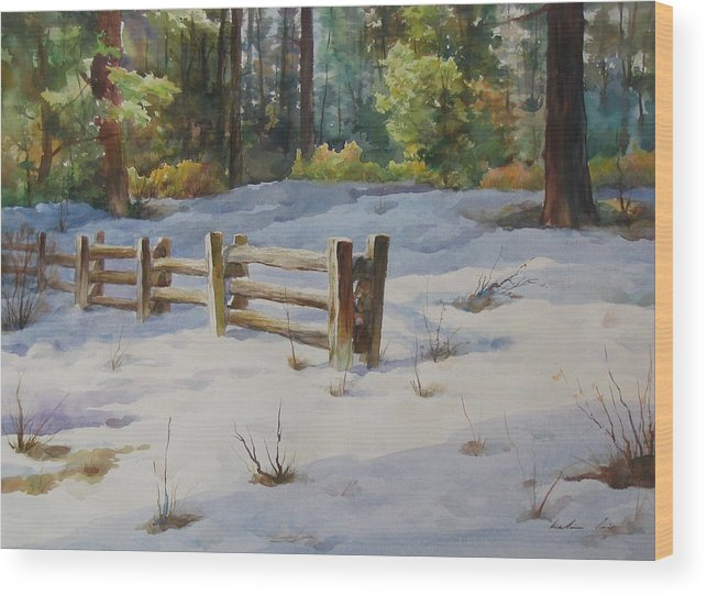 Landscape Wood Print featuring the painting A Winter Morning by Kelvin Lei