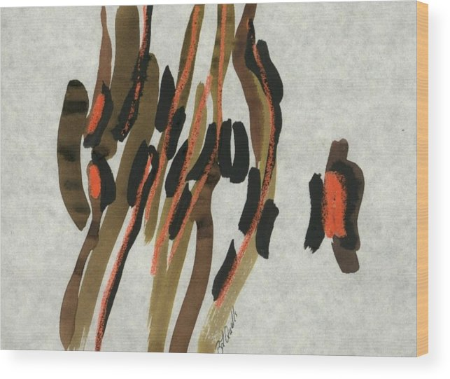 Abstract Wood Print featuring the painting Africa by B L Qualls