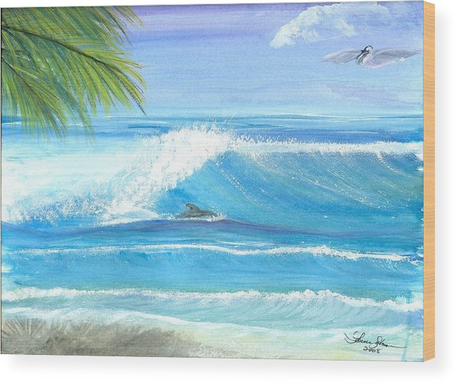 Dolphin Surfing Wood Print featuring the mixed media After Lunch Session by Laura Johnson