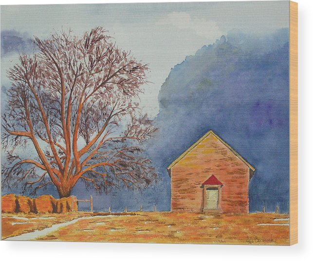 Landscape Wood Print featuring the painting Afternoon Storm by Ally Benbrook