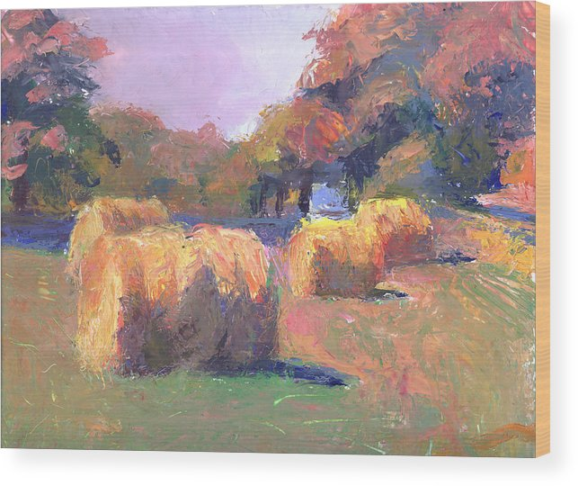 Landscape Wood Print featuring the painting Airmont Hay Bales Morning by Timothy Chambers