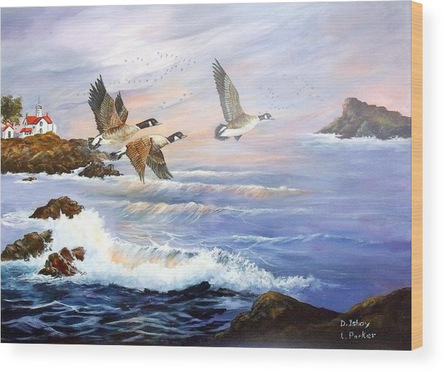 Aleutian Geese /lighthouse Wood Print featuring the painting Aleutian Geese With Lighthouse by Lynne Parker