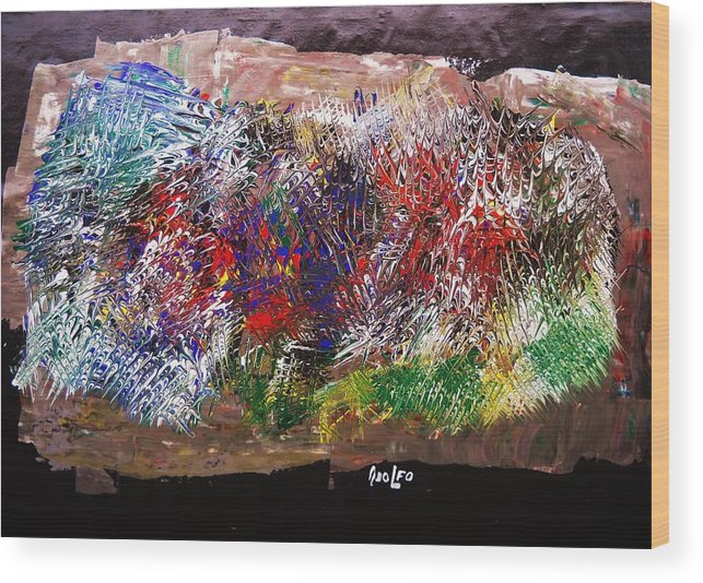 Intense-abstract-modern Art- Wood Print featuring the painting Alligator Skin by Adolfo hector Penas alvarado