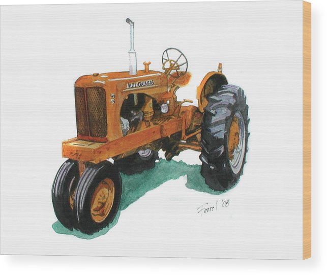 Allis Chalmers Tractor Wood Print featuring the painting Allis Chalmers Tractor by Ferrel Cordle