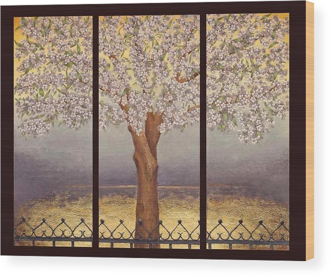 Almond Wood Print featuring the painting Almond Tree by Barbara Gerodimou