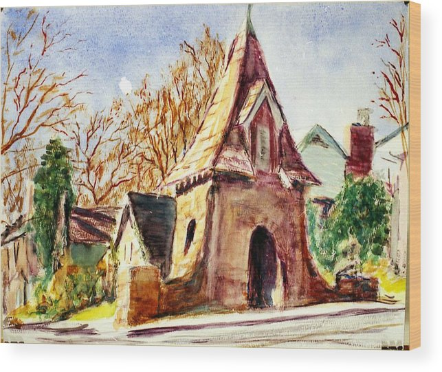 Watercolor Wood Print featuring the painting Along Big Bend Blvd. by Horacio Prada