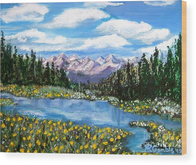 Landscape Wood Print featuring the painting Alpine Lake Colorado Usa by Nancy Rucker