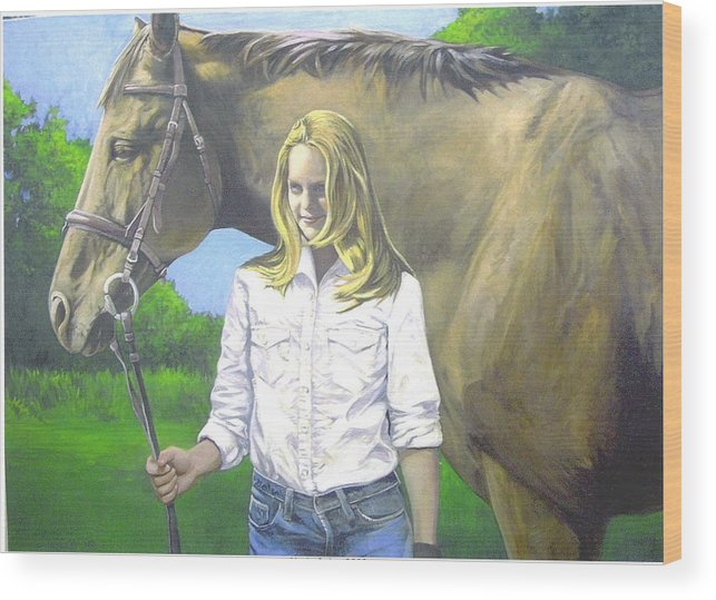 Portrait Wood Print featuring the painting Alyssa And Joe by Steve Greco