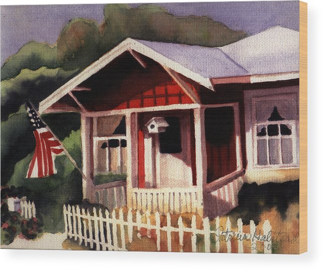 Watercolor Wood Print featuring the painting American Home by Patricia Halstead