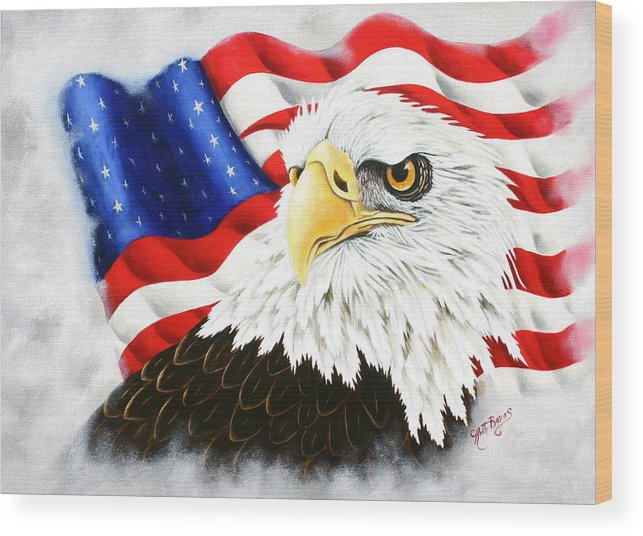 Eagle Wood Print featuring the painting Americas Pride by Ruth Bares