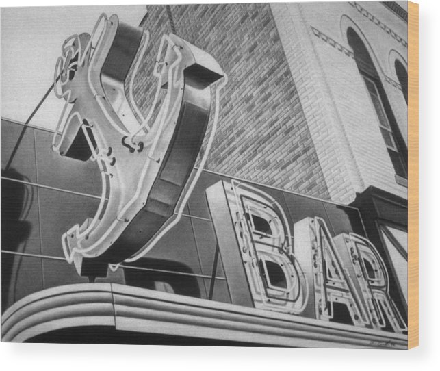 Sign Wood Print featuring the drawing Anchor Bar by Van Cordle