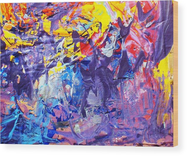 Abstract Wood Print featuring the painting Another New York State Of Mind by Bruce Combs - REACH BEYOND