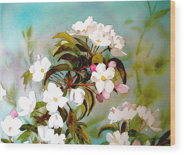 Blossoms Wood Print featuring the painting Apple Blossoms by Faye Ziegler