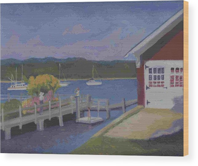 Landscape Wood Print featuring the painting At The Dock by Paula Emery