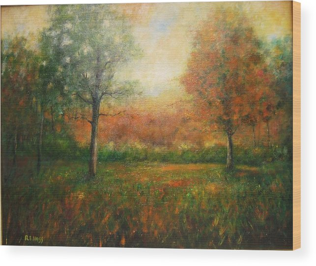 Wood Print featuring the painting Autumn Field by Robert Hess
