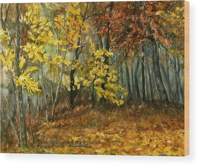 Landscape Wood Print featuring the painting Autumn Hollow II by Mary Tuomi