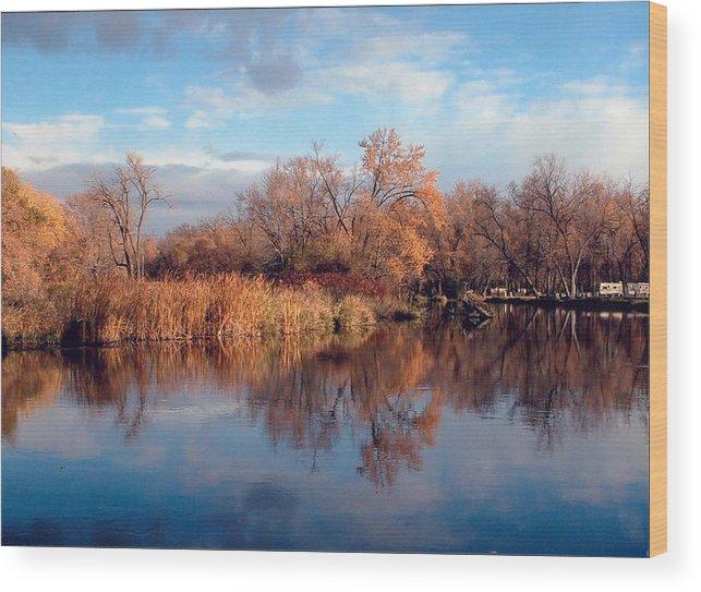 Autumn Wood Print featuring the photograph Autumn Mirror by Joni Moseng