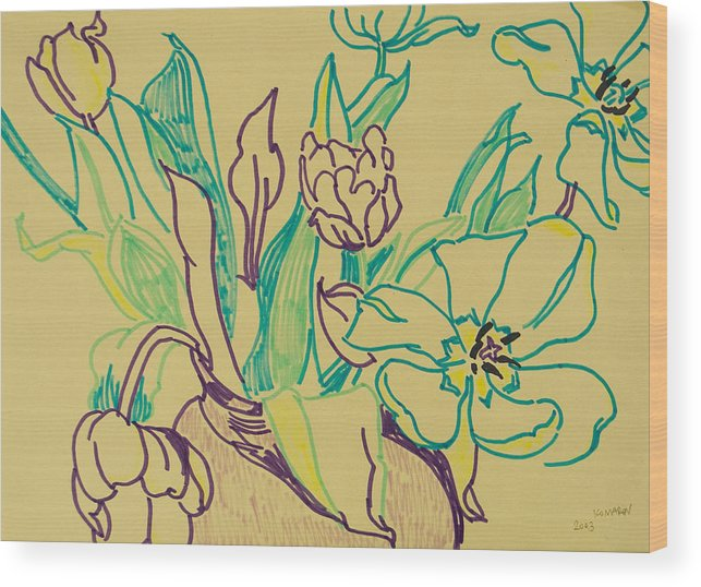 Tulip Wood Print featuring the drawing Beautiful Tulips by Vitali Komarov