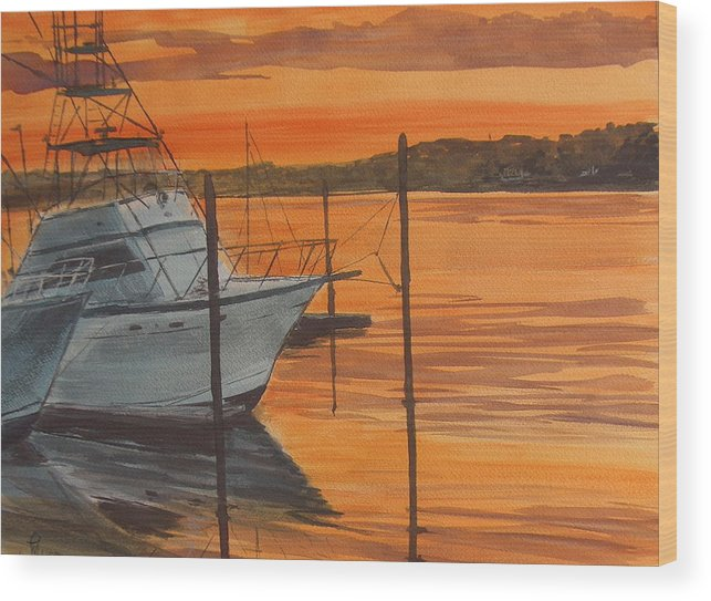 Sunset Wood Print featuring the painting Belmar Sunset by Pete Maier