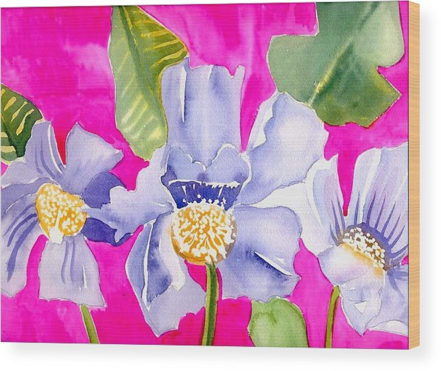 Big Pink Flowers Wood Print featuring the painting Big Pink Flowers by Janet Doggett