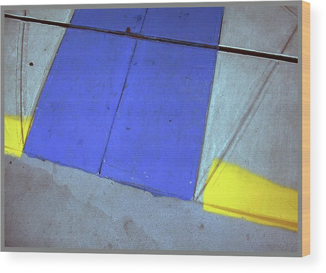 Pavements Wood Print featuring the photograph Blue And Yellow by Guy Ciarcia