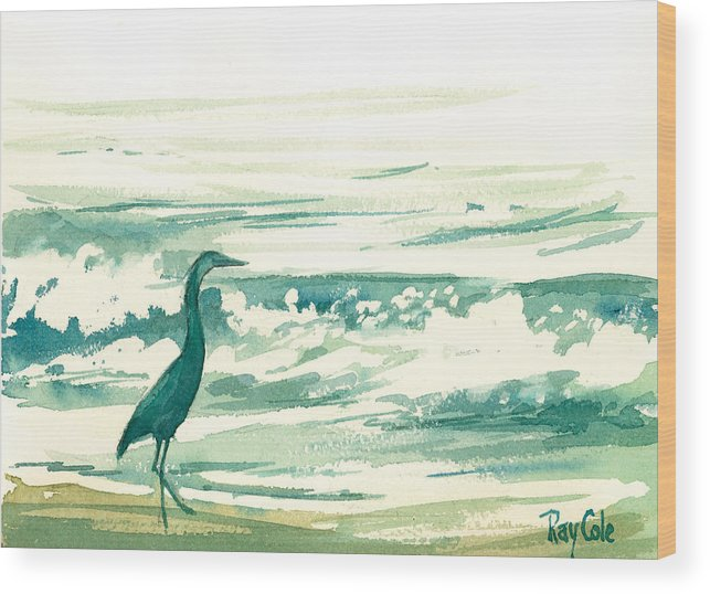 Blue Heron At The Water\ Wood Print featuring the painting Blue Heron by Ray Cole