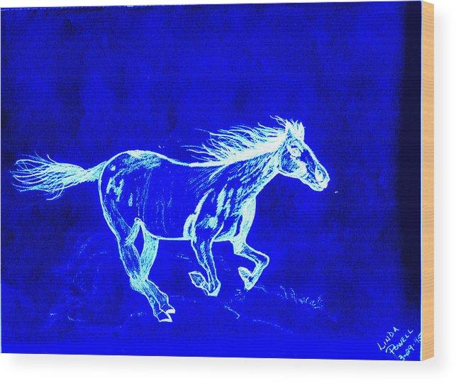 Digital Print Blue Horse Pencil Drawing Original Wood Print featuring the digital art Blue Horse by Linda Powell