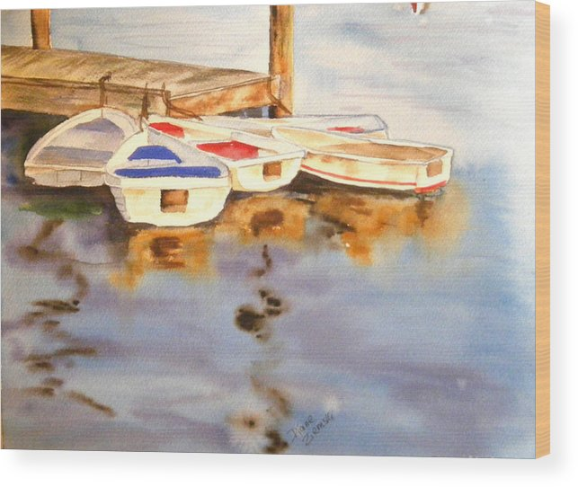 Boats Wood Print featuring the painting Boats by Diane Ziemski