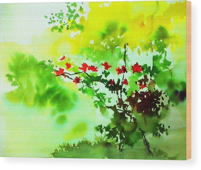 Floral Wood Print featuring the painting Boganwel by Anil Nene