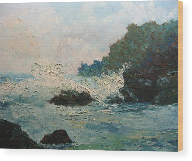 Landscape Wood Print featuring the painting Breaking Waves - Number One by Belinda Consten