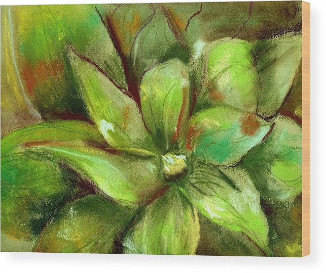 Green Wood Print featuring the painting Bright Agave by Marilyn Barton
